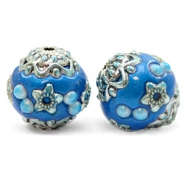 Perlen Bohemian 16mm Olympic blue-silver