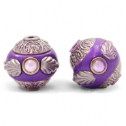 Perlen Bohemian 14mm Purple-silver