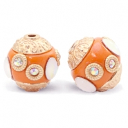 Perlen Bohemian 14mm Mandarin orange-gold crystal