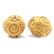 Perlen Bohemian 14mm Mustard yellow-gold