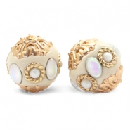 Perlen Bohemian 16mm Beige-diamond coated white gold