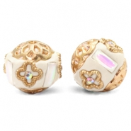 Perlen Bohemian 16mm Beige-white crystal gold