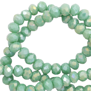 Facetten Top Glas Perlen 8x6mm Rondellen Nile green-diamond shine coating